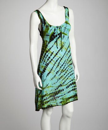 Turquoise & Lime Tie-Dye Embroidered Shift Dress