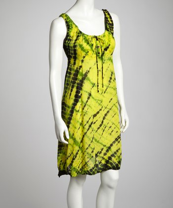 Yellow & Lime Tie-Dye Embroidered Shift Dress