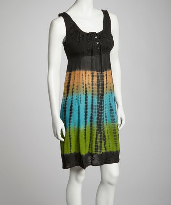 Turquoise & Lime Tie-Dye Embroidered Empire-Waist Dress