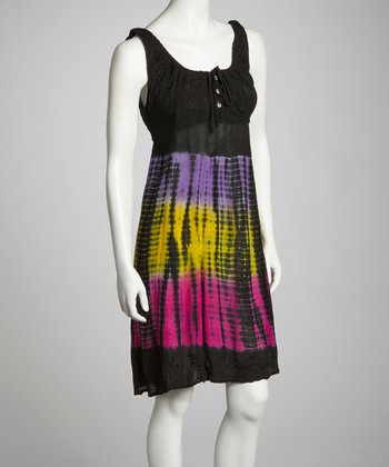 Yellow & Pink Tie-Dye Embroidered Empire-Waist Dress