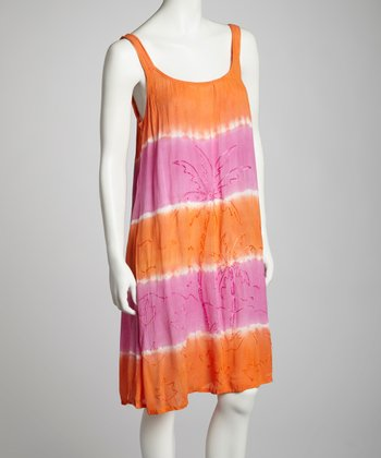 Orange & Fuchsia Tie-Dye Embroidered Shift Dress