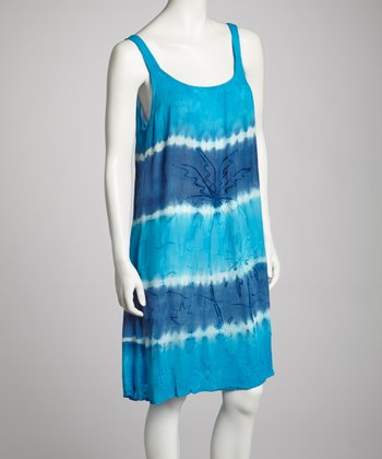 Turquoise & Royal Blue Tie-Dye Embroidered Shift Dress