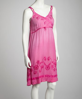Fuchsia Embroidered Surplice Dress