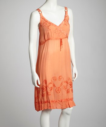 Orange Embroidered Surplice Dress