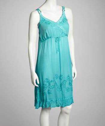 Peacock Embroidered Surplice Dress