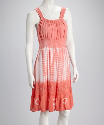 Coral Tie-Dye Embroidered Dress