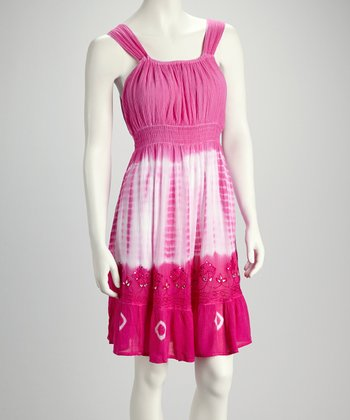 Hibiscus Tie-Dye Embroidered Dress