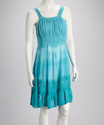 Teal Tie-Dye Embroidered Dress