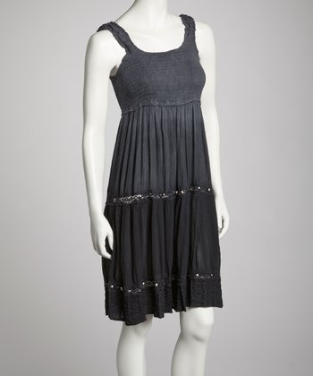 Black Embellished Empire-Waist Dress