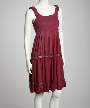 Burgundy Embellished Empire-Waist Dress