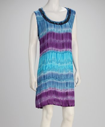 Turquoise & Purple Tie-Dye Sleeveless Dress