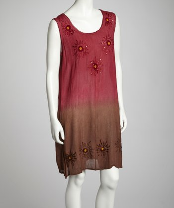 Chocolate & Burgundy Ombré Sleeveless Shift Dress