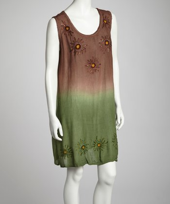 Chocolate & Olive Ombré Sleeveless Shift Dress