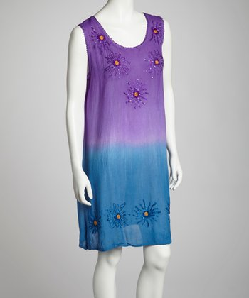 Purple & Blue Ombré Sleeveless Shift Dress