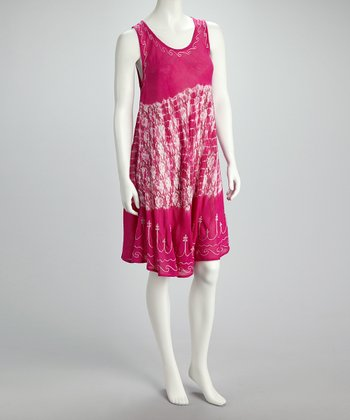 Fuchsia Embroidered Sleeveless Dress