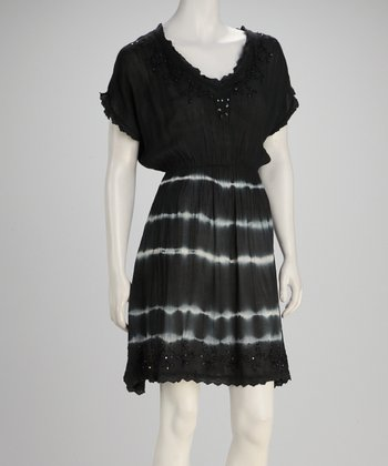 Black Tie-Dye V-Neck Dress
