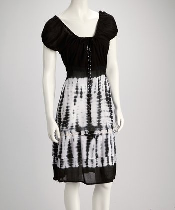 Black Tie-Dye Puff-Sleeve Dress