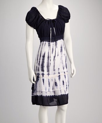 Navy Tie-Dye Puff-Sleeve Dress
