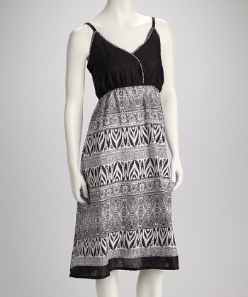 Black & White Batik Surplice Dress