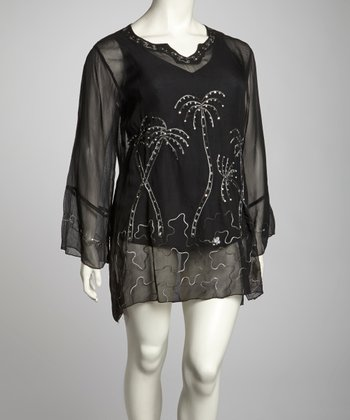 Black Palm Embroidered Plus-Size Cover-Up