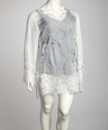 White Palm Embroidered Plus-Size Cover-Up