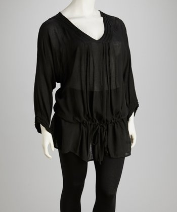 Black Plus-Size Dolman Tunic