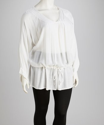White Plus-Size Dolman Tunic