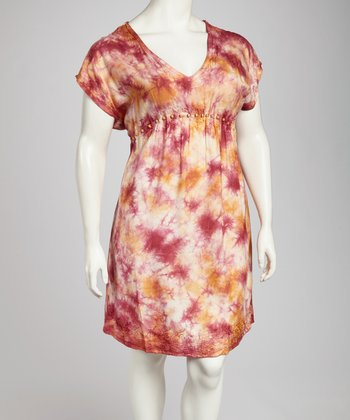 Burgundy & Khaki Tie-Dye Plus-Size Cap-Sleeve Dress