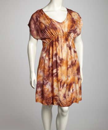 Chocolate & Khaki Tie-Dye Plus-Size Cap-Sleeve Dress