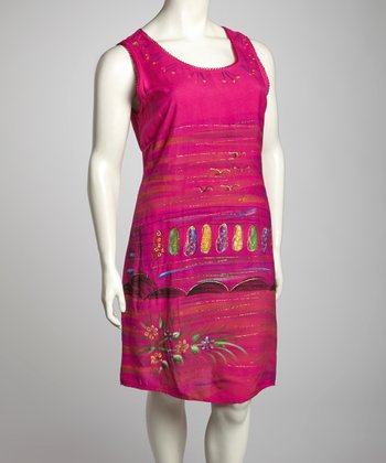 Fuchsia Sandal Plus-Size Sleeveless Dress