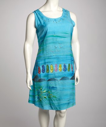 Turquoise Sandal Plus-Size Sleeveless Dress
