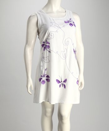 Purple Butterfly Embroidered Plus-Size Cover-Up