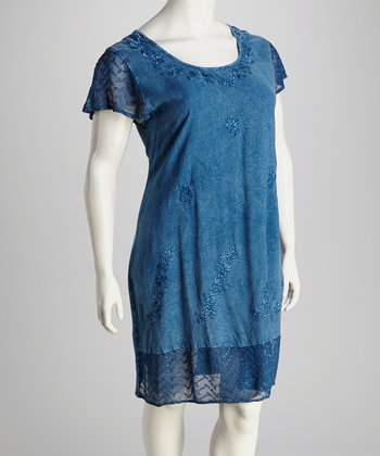 Indigo Lace Plus-Size Cap-Sleeve Dress