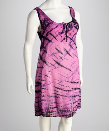Fuchsia Tie-Dye Plus-Size Dress