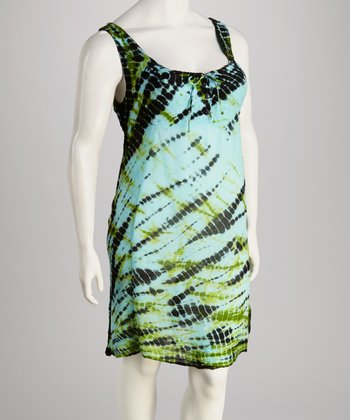 Turquoise Tie-Dye Plus-Size Dress