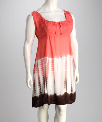 Coral & Chocolate Dip-Dye Cover-Up - Plus