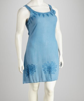 Sky Acid Wash Plus-Size Dress