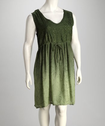 Olive Dip-Dye Sleeveless Cover-Up - Plus