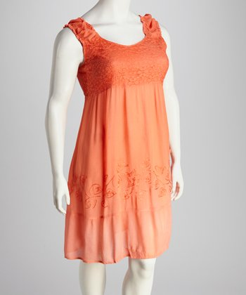 Coral Lace-Trim Plus-Size Dress