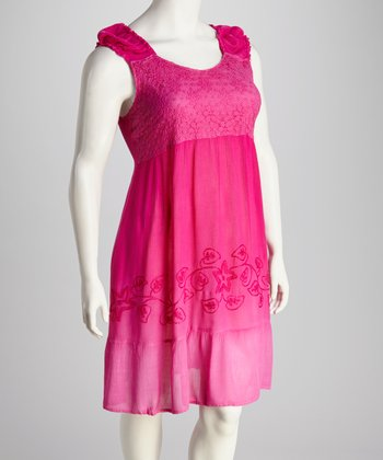 Fuchsia Lace-Trim Plus-Size Dress