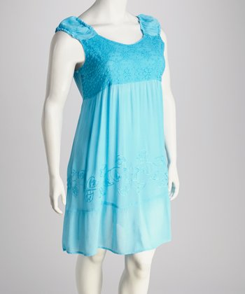 Turquoise Lace-Trim Plus-Size Dress