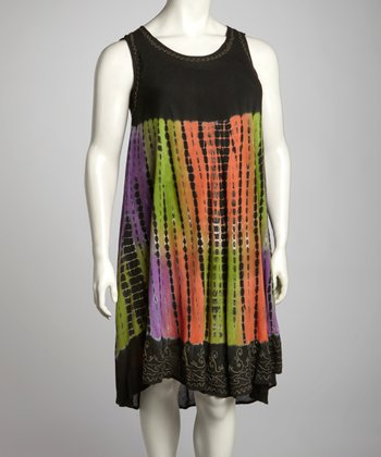 Olive & Purple Tie-Dye Plus-Size Sleeveless Dress