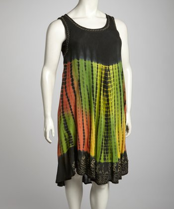 Yellow & Olive Tie -Dye Plus-Size Sleeveless Dress