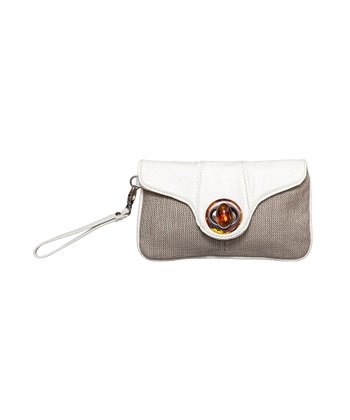 White Textured Linen Clutch