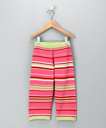 Pink & Green Striped Pants - Toddler