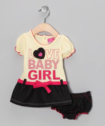 Yellow 'Love Baby Girl' Dress & Diaper Cover - Infant