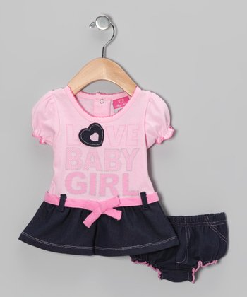 Pink 'Love Baby Girl' Dress & Diaper Cover - Infant