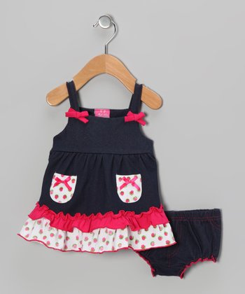 Fuchsia Bow Dress & Diaper Cover - Infant