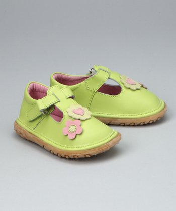 Lime & Pink Flower T-Strap - Infant, Toddler & Girls