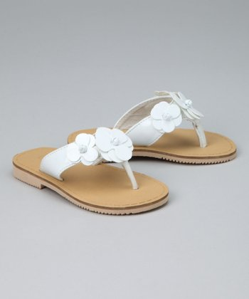 White Flower Flip-Flop - Toddler & Girls